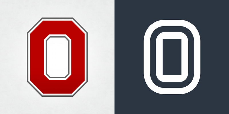 "Ohio State's block ""O"" compared to Overtime's logo"