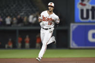 Baltimore Orioles' Stevie Wilkerson trots the bases on his first career home run against the Chicago White Sox in the fourth inning of a baseball game, Wednesday, April 24, 2019, in Baltimore. The Orioles won 4-3. (AP Photo/Gail Burton)