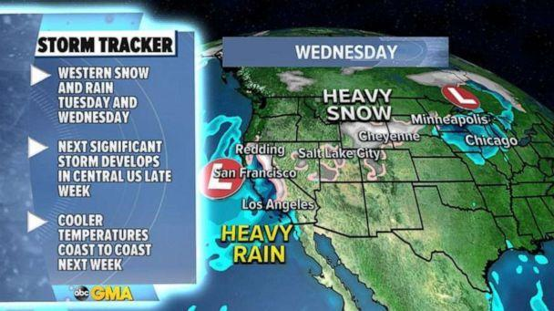 PHOTO: Much of this rain and snow will head into California and into southern parts of the state and much of the region, but especially Los Angeles, could really benefit from this precipitation.  (ABC News)