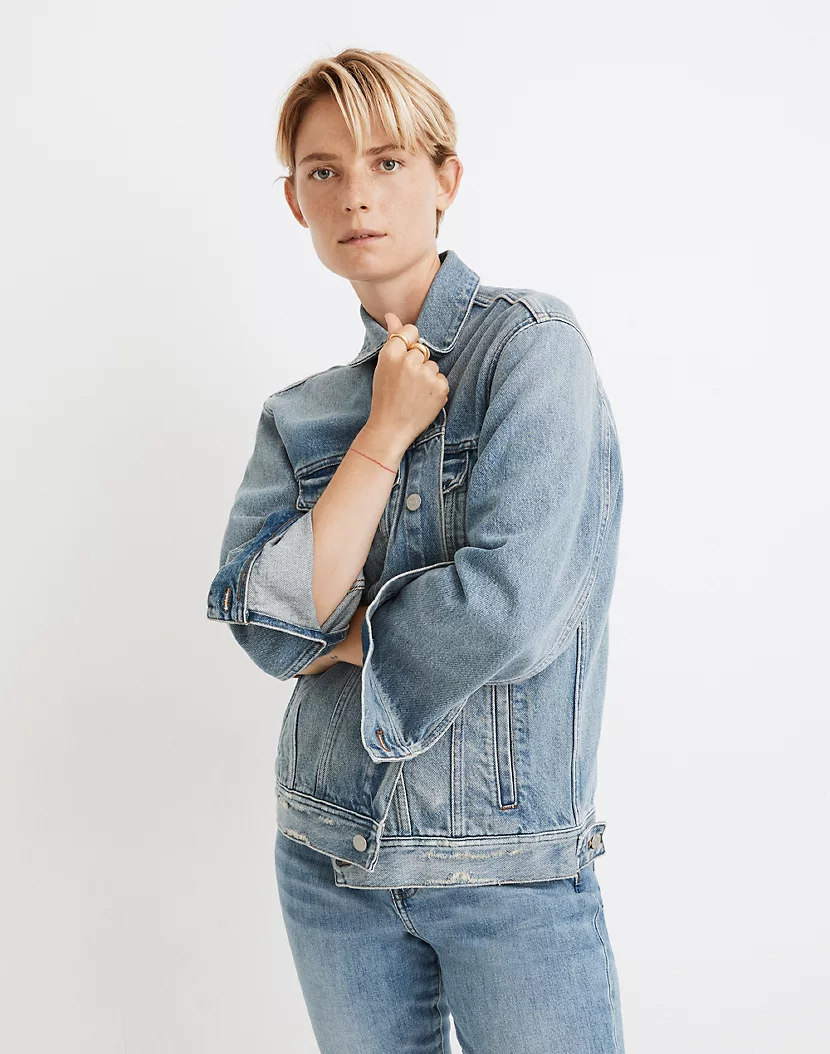 """<h3><strong>Madewell The Oversize Trucker Jean Jacket</strong></h3><br><strong>Why It's A Best Buy</strong>: <a href=""""https://www.refinery29.com/en-us/2019/06/235750/libby-wadle-madewell"""" rel=""""nofollow noopener"""" target=""""_blank"""" data-ylk=""""slk:Madewell's denim pants"""" class=""""link rapid-noclick-resp"""">Madewell's denim pants</a> tow a consistent fan following — and its denim jackets follow style suit. While there are quite a few options to choose from, we love the classic silhouette and blue distressed-cotton color of this particular version that also comes in plus sizes.<br><br><strong>The Review</strong>: """"Perfect oversized fit. A closet staple that can be mixed and match in endless ways!"""" <em>– Madewell Reviewer</em><br><br><strong>Madewell</strong> The Oversized Trucker Jean Jacket, $, available at <a href=""""https://go.skimresources.com/?id=30283X879131&url=https%3A%2F%2Fwww.madewell.com%2Fthe-oversized-trucker-jean-jacket-in-akenside-wash-AL888.html"""" rel=""""nofollow noopener"""" target=""""_blank"""" data-ylk=""""slk:Madewell"""" class=""""link rapid-noclick-resp"""">Madewell</a>"""