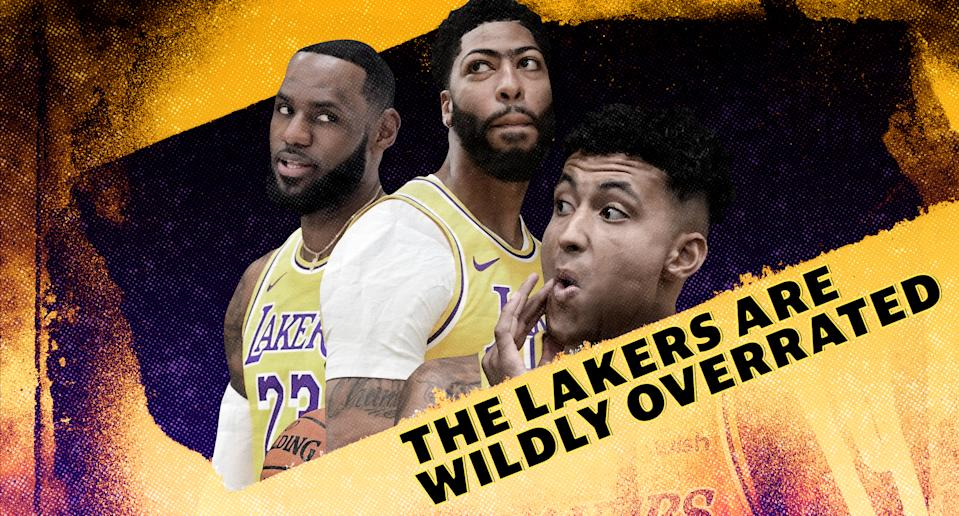 The Los Angeles Lakers hope LeBron James, Anthony Davis and Kyle Kuzma provide more answers than questions this season. (Yahoo Sports graphic)