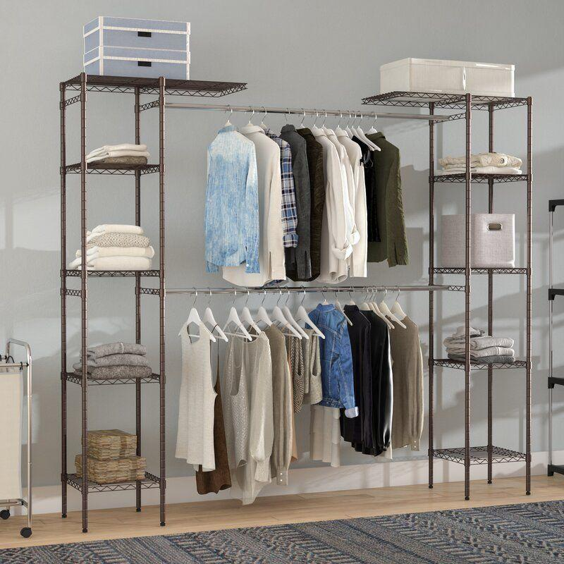 """<p><a class=""""link rapid-noclick-resp"""" href=""""https://go.redirectingat.com?id=74968X1596630&url=https%3A%2F%2Fwww.wayfair.com%2Fstorage-organization%2Fpdp%2Fwayfair-basics-58-w-83-w-closet-system-wfbs1278.html%3Fcategoryid%3D1833181%26placement%3D1%26slot%3D1%26sponsoredid%3Dd54633f50eef9bbadd544607ebd5ed99698aa53a52bcd758b0c63b8cd3c00e82%26_txid%3DI%252FWEwl6sTvEkLgvv6dyXAg%253D%253D%26isB2b%3D0%26auctionId%3De651e43a-8daa-4c0e-be7d-84ff414ffd88&sref=https%3A%2F%2Fwww.goodhousekeeping.com%2Fhome%2Forganizing%2Fg32334735%2Fbest-closet-systems%2F"""" rel=""""nofollow noopener"""" target=""""_blank"""" data-ylk=""""slk:SHOP NOW"""">SHOP NOW</a></p><p>Wayfair reviewers rave about this free-standing closet system's reasonable price point (it's just $128!), durability, and fairly easy installation process. </p>"""