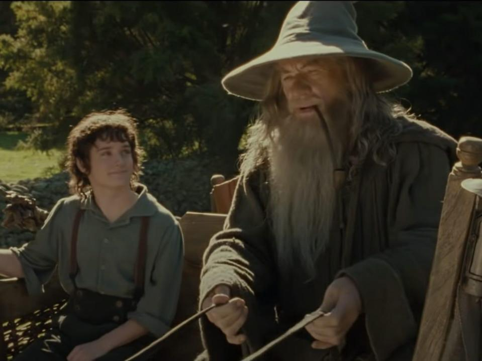 Frodo and Gandalf in cart The Lord of the Rings the Fellowship of the Ring New Line Cinema