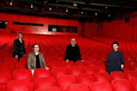 Four of the six jury members for this year's Berlin Film Festival, which has been held without the usual audience