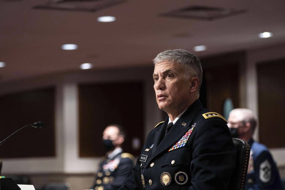 U.S. Cyber Command Commander, National Security Agency Director and Central Security Service Chief Gen. Paul Nakasone speaks during a hearing to examine United States Special Operations Command and United States Cyber Command in review of the Defense Authorization Request for fiscal year 2022 and the Future Years Defense Program, on Capitol Hill, Thursday, March 25, 2021, in Washington. (Anna Moneymaker/The New York Times via AP, Pool)