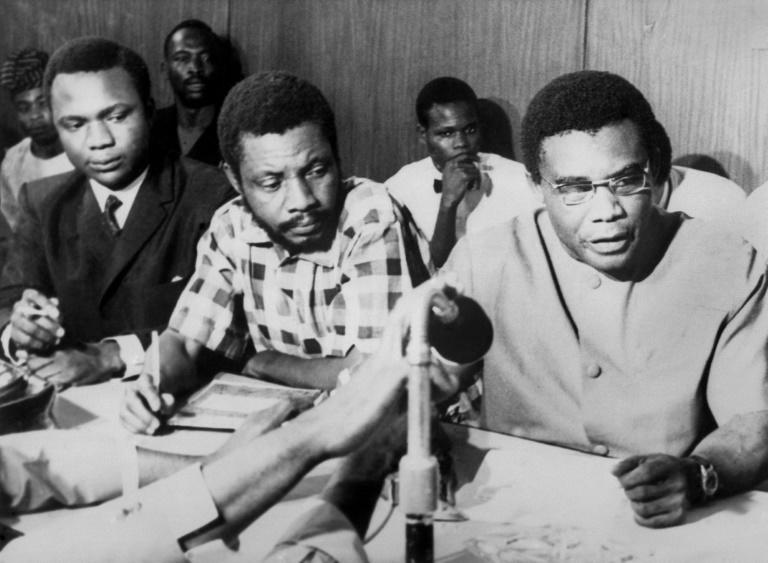 Capitulation: Biafran military chief General Philip Effiong, right, and Colonel David Ogunewe, centre, on January 12 1970 (AFP Photo/)
