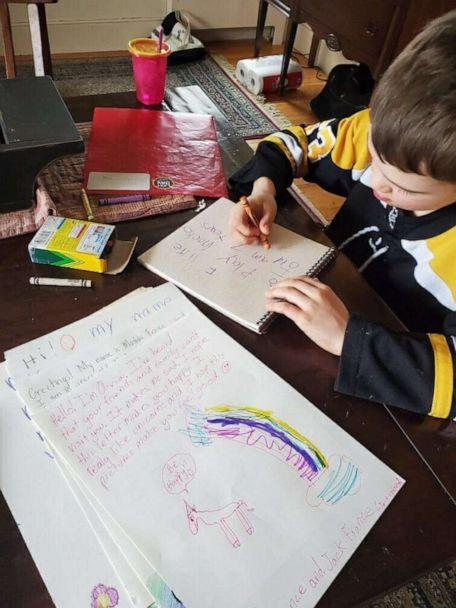 PHOTO: While schools are closed during the coronavirus crisis, Madilyn, 10, Olivia, 9, Cameron, 7 and Jack France, 4, have been busy at work drawing pictures and writing well wishes to people in nursing homes around Massachusetts. (Vanessa France)