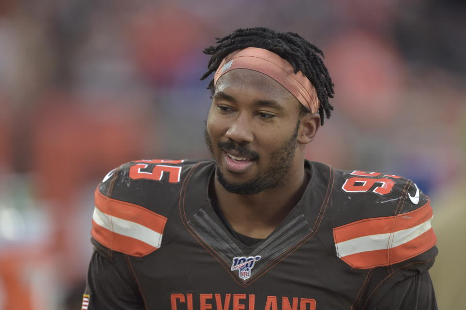 Cleveland Browns defensive end Myles Garrett reacts during an NFL football game against the Buffalo Bills, Sunday, Nov. 10, 2019, in Cleveland. The Browns won 19-16. (AP Photo/David Richard)