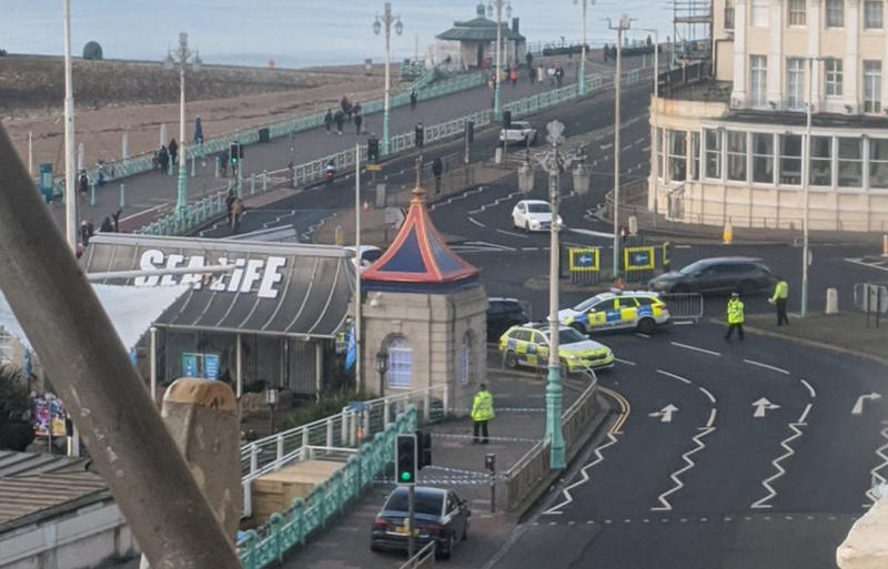 The police presence at Brighton seafront. (PA)