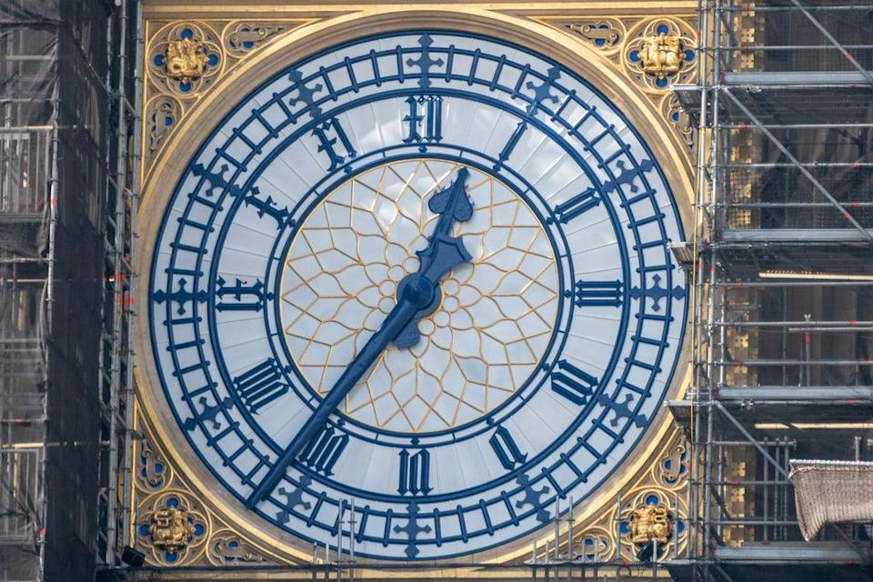 The restored clock hands have been painted to match the original Prussian Blue colour scheme (Stefan Rousseau/PA) (PA Wire)