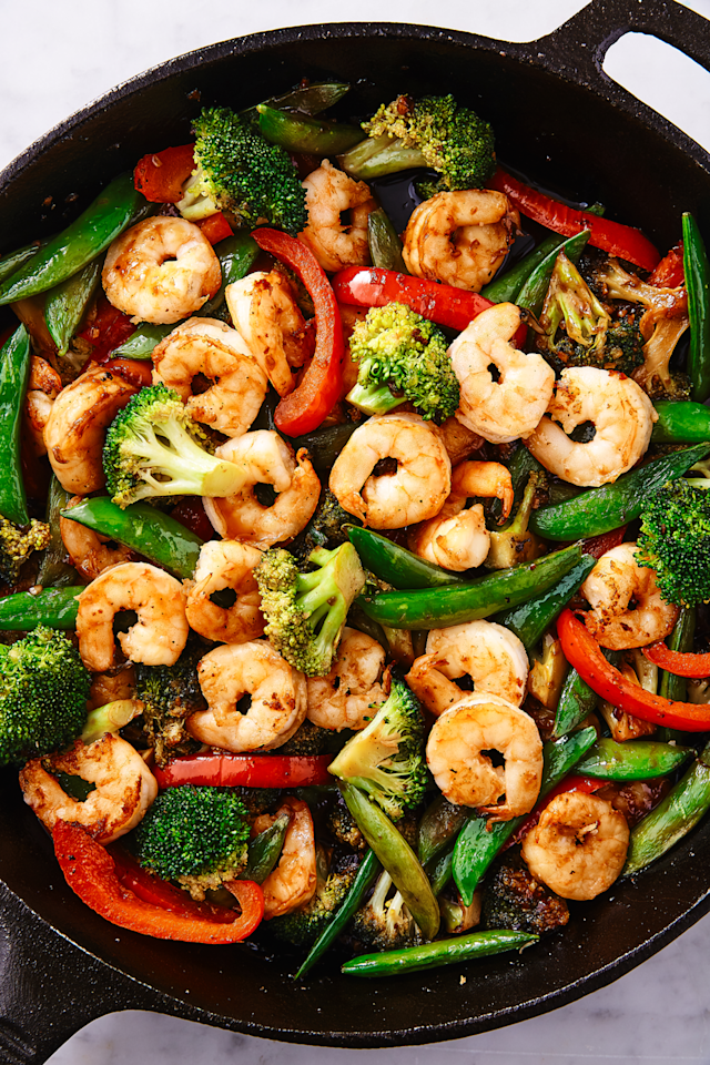 """<p>If no one would judge us we would eat this stir fry every single night. It's so simple to throw together yet full of so much flavour. </p><p>Get the <a href=""""https://www.delish.com/uk/cooking/recipes/a28757385/shrimp-stir-fry-recipe/"""" target=""""_blank"""">Prawn Stir Fry</a> recipe.</p>"""