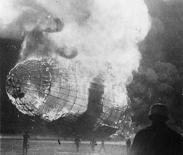 <p>The German airship 'Hindenburg' (LZ-129) in flames after the disaster on its arrival at Lakehurst, New Jersey on May 6, 1937. (Central Press/Getty Images) </p>