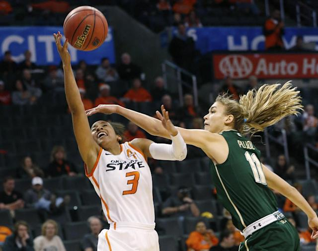 Oklahoma State guard Tiffany Bias (3) shoots as South Florida guard Ariadna Pujol (11) defends in the first half of an NCAA college basketball game at the All College Classic in Oklahoma City, Saturday, Dec. 14, 2013. (AP Photo/Sue Ogrocki)