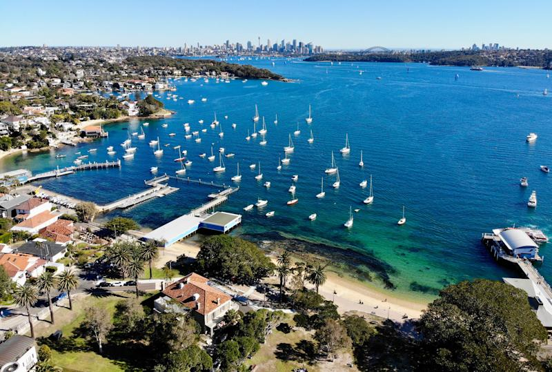 Aerial view of houses and water in Mosman. Image: Getty