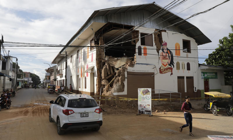 The corner of a building was destroyed by an earthquake in Yurimaguas, Peru, Sunday, May 26, 2019. A powerful magnitude 8.0 earthquake struck this remote part of the Amazon jungle in Peru early Sunday, collapsing buildings and knocking out power to some areas. (Guadalupe Pardo/Pool photo via AP)