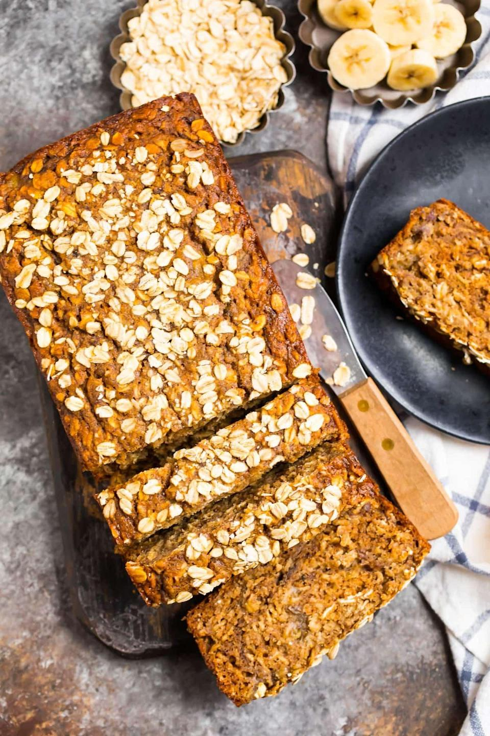 "<p>Bread baking makes another appearance in Maine! Switch things up by adding oats and bananas to make this delicious recipe, and you'll be getting a loaf that's like a mix between oatmeal cookies and bread. </p> <p><strong>Get the recipe:</strong> <a href=""https://www.wellplated.com/oatmeal-banana-bread/"" class=""link rapid-noclick-resp"" rel=""nofollow noopener"" target=""_blank"" data-ylk=""slk:oatmeal banana bread"">oatmeal banana bread</a></p>"