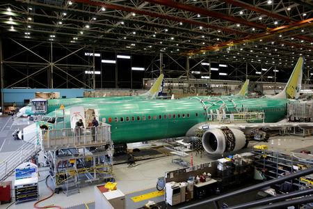 FILE PHOTO: Boeing's new 737 MAX-9 is pictured under construction at their production facility in Renton, Washington, U.S., February 13, 2017. REUTERS/Jason Redmond/File Photo