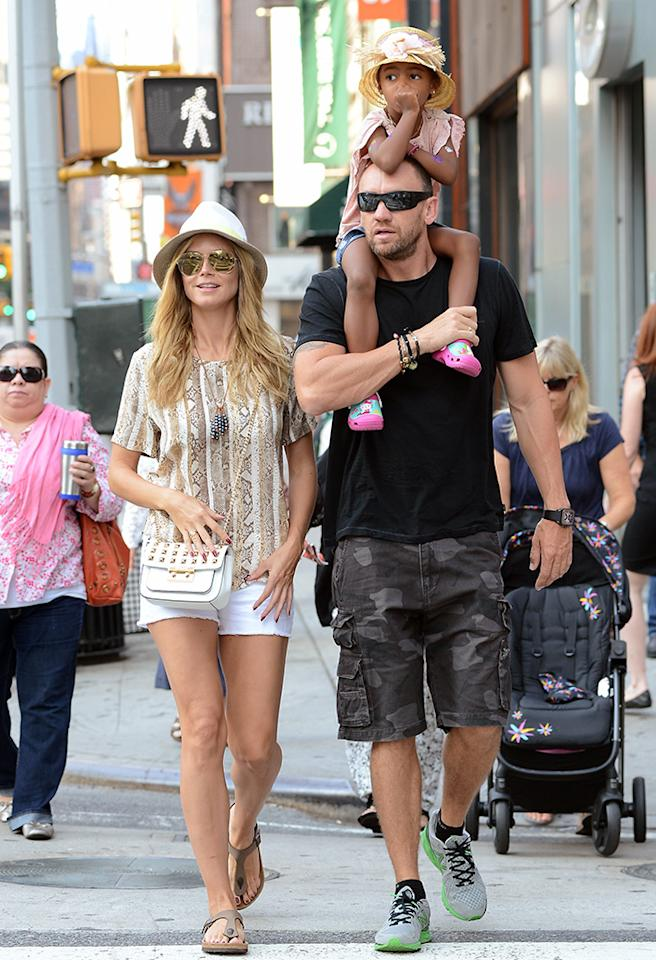Heidi Klum certainly hasn't taken things slow with her bodyguard boyfriend Martin Kristen, including him in family outings with her four children constantly. And based on the photos we've been seeing, the kids have really taken to the guy! On Monday, Klum's youngest daughter, 3-year-old Lou (dad is Klum's musician ex-husband Seal), looked relaxed as she got a ride on Kristen's shoulders during a walk through New York City. (6/24/2013)