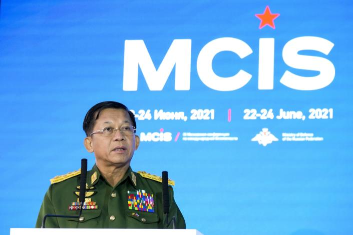 Commander-in-Chief of Myanmar's armed forces, Senior General Min Aung Hlaing delivers his speech at the IX Moscow conference on international security in Moscow, Russia, Wednesday, June 23, 2021. (AP Photo/Alexander Zemlianichenko, Pool)
