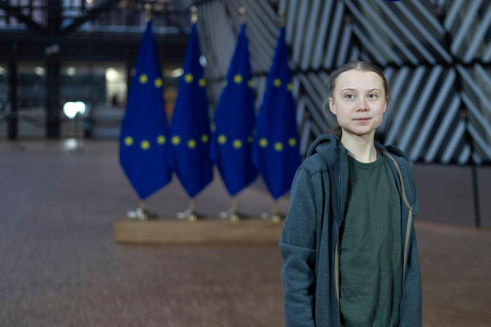 Swedish environmentalist Greta Thunberg speaks to journalists during a meeting at the Europa building in Brussels on March 5, 2020. (Photo by Kenzo TRIBOUILLARD / AFP) (Photo by KENZO TRIBOUILLARD/AFP via Getty Images)