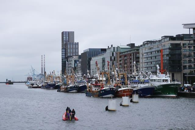 Trawlers from all around the Irish coast gathered outside the Convention Centre in Dublin