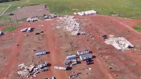An aerial view of tornado damage in a trailer park in Watford City, North Dakota