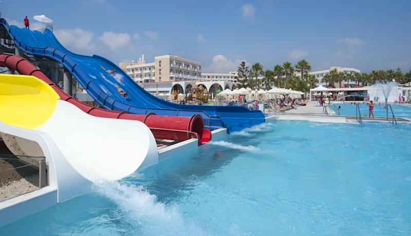 Louis Phaethon Beach opens up its very own water park in the summer. [Photo: Louis Phaethon Beach]