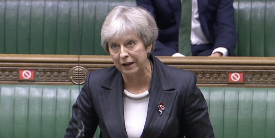 Theresa May attacks the government over 'pre-recorded online' Remembrance services. (Parliamentlive.tv)