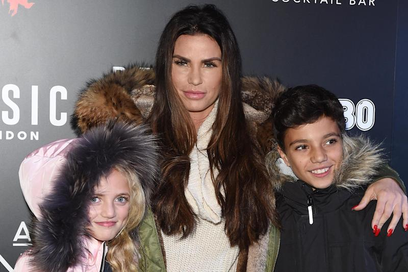 Katie Price and two of her five children in 2017: Photo by Tabatha Fireman/Getty Images