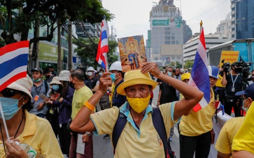 A supporter of the Thai monarchy outside the German embassy in central Bangkok. CREDIT: AP - Gemunu Amarasinghe /AP