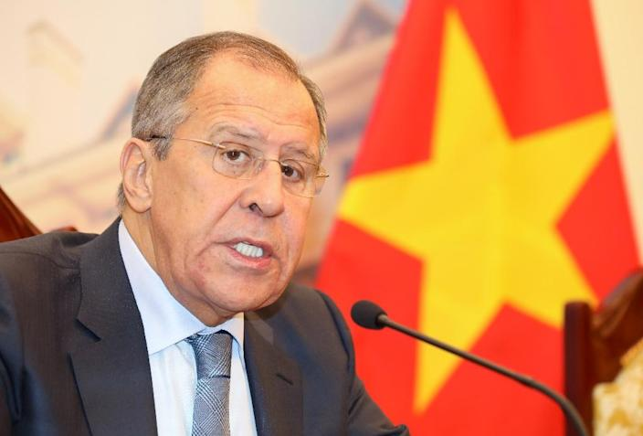 """During a visit to Hanoi, Russian Foreign Minister Sergei Lavrov warned that British officials """"are feverishly trying to force allies to take confrontational steps"""" (AFP Photo/-)"""