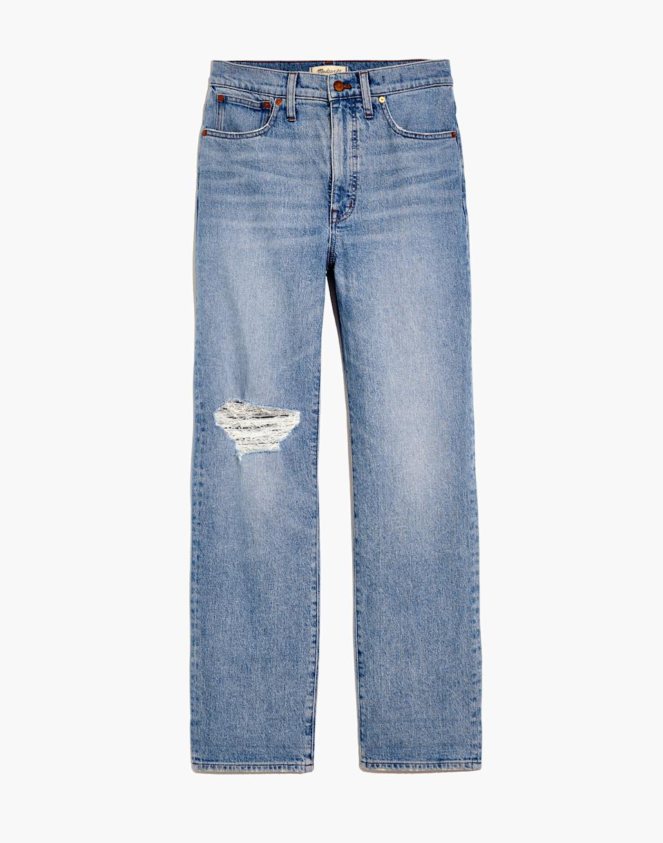 The Perfect Vintage Straight Jean in Reinhart Wash. Image via Madewell.