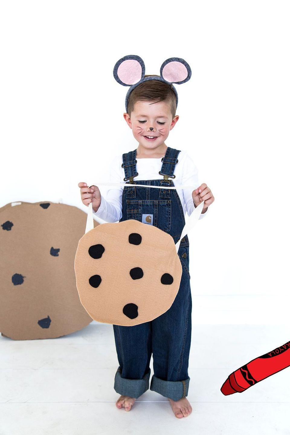 """<p>Grab a pair of overalls and two large pieces of cardboard, then craft your way through this adorable, instantly recognizable costume. (Bonus points if you bring along a few real cookies for Halloween snacking!) </p><p><strong>Get the tutorial at <a href=""""http://thehousethatlarsbuilt.com/2015/10/if-you-give-a-mouse-a-cookie-costumes.html/"""" rel=""""nofollow noopener"""" target=""""_blank"""" data-ylk=""""slk:The House That Lars Built"""" class=""""link rapid-noclick-resp"""">The House That Lars Built</a>.</strong></p><p><strong><a class=""""link rapid-noclick-resp"""" href=""""https://go.redirectingat.com?id=74968X1596630&url=https%3A%2F%2Fwww.walmart.com%2Fsearch%2F%3Fquery%3Dmouse%2Bears&sref=https%3A%2F%2Fwww.thepioneerwoman.com%2Fholidays-celebrations%2Fg37014285%2Fbook-character-costumes%2F"""" rel=""""nofollow noopener"""" target=""""_blank"""" data-ylk=""""slk:SHOP MOUSE EARS"""">SHOP MOUSE EARS</a></strong></p>"""