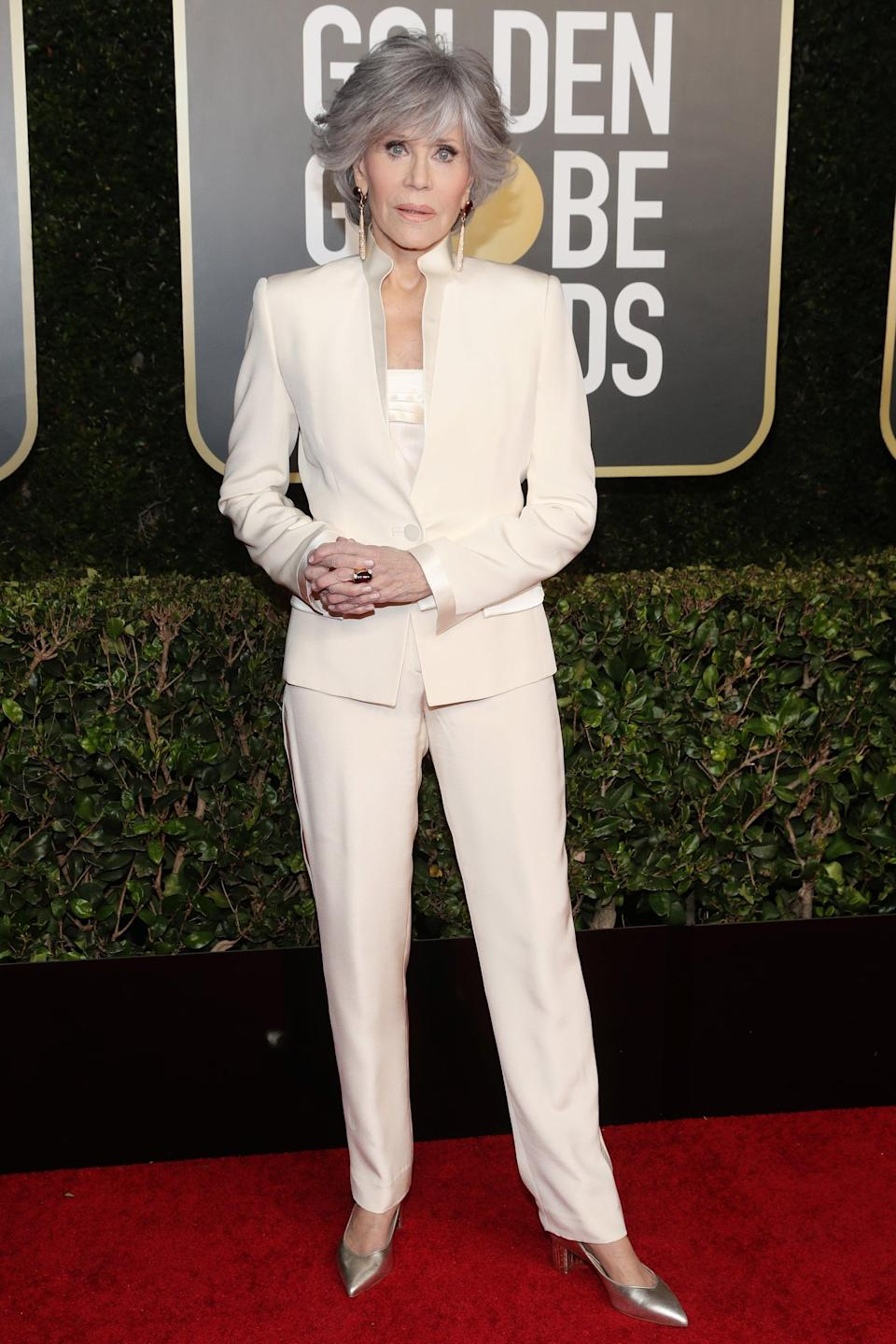 """<h2>Jane Fonda</h2><br>There to take home the Cecil B. DeMille Award, Jane Fonda kept true to her promise to never buy new clothes again by <a href=""""https://www.townandcountrymag.com/style/fashion-trends/a35632669/jane-fonda-rewear-pantsuit-golden-globe-2021-photos/"""" rel=""""nofollow noopener"""" target=""""_blank"""" data-ylk=""""slk:re-wearing a white suit to the Golden Globes"""" class=""""link rapid-noclick-resp"""">re-wearing a white suit to the Golden Globes</a>.<span class=""""copyright"""">Photo: Todd Williamson/NBC/NBCU Photo Bank/Getty Images.</span>"""