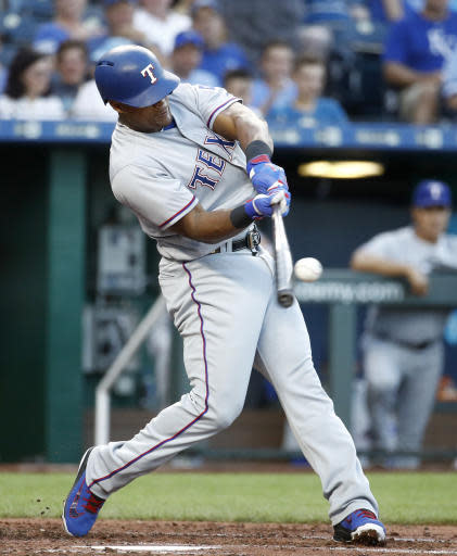 Texas Rangers' Adrian Beltre hits a three-run home run during the third inning of a baseball game against the Kansas City Royals Monday, June 18, 2018, in Kansas City, Mo. (AP Photo/Charlie Riedel)