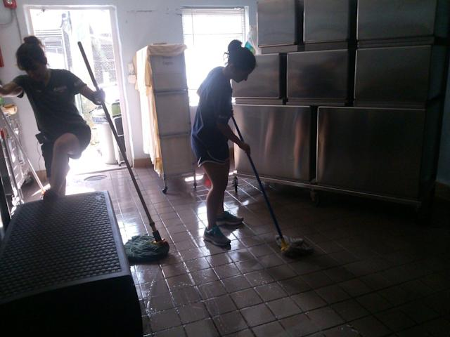 In addition to caring for the animals, the South Florida Wildlife Center staff pitched in to clean up after the storm.