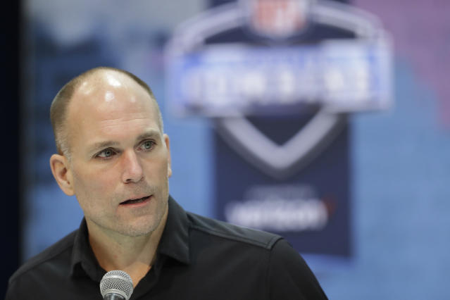 FILE - In this Feb. 27, 2019, file photo, Baltimore Ravens general manager Eric DeCosta speaks during a press conference at the NFL football scouting combine in Indianapolis. For the first time since the Ravens came to Baltimore, someone other than Ozzie Newsome will have the final say during the NFL draft. DeCosta moved up the corporate ladder after joining the Ravens at an entry level position in 1996, their first year after moving from Cleveland. Now that hes in charge, theres no telling what might happen when it comes time for Baltimore to make its first-round selection. (AP Photo/Darron Cummings, File)