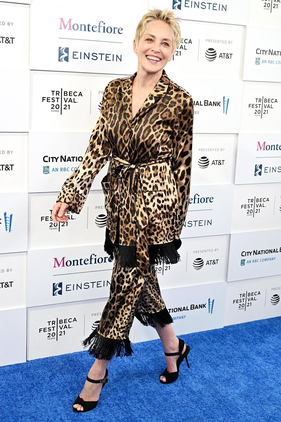 <p>Sharon Stone looks amazing in a leopard-print ensemble on her way to the <em>In the Heights</em> premiere in N.Y.C. on June 9.</p>