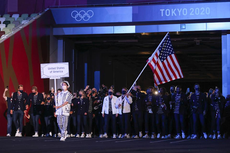 Team USA at the Olympics opening ceremony.