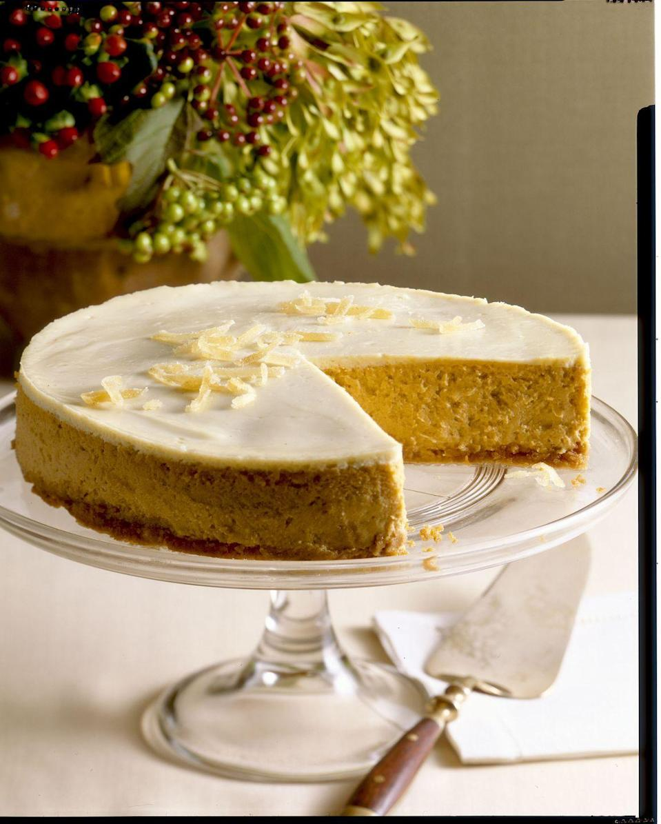 "<p>This festive dessert is light in texture with a melt-in-your-mouth creaminess that'll have your fam asking for it every season.</p><p><em><a href=""https://www.goodhousekeeping.com/food-recipes/a4817/pumpkin-cheesecake-709/"" rel=""nofollow noopener"" target=""_blank"" data-ylk=""slk:Get the recipe for Pumpkin Cheesecake »"" class=""link rapid-noclick-resp"">Get the recipe for Pumpkin Cheesecake »</a></em></p><p><strong>RELATED: </strong><a href=""https://www.goodhousekeeping.com/food-recipes/dessert/g4454/pumpkin-cheesecake-recipes/"" rel=""nofollow noopener"" target=""_blank"" data-ylk=""slk:22 Easy Pumpkin Cheesecake Recipes to Make This Fall"" class=""link rapid-noclick-resp"">22 Easy Pumpkin Cheesecake Recipes to Make This Fall</a></p>"