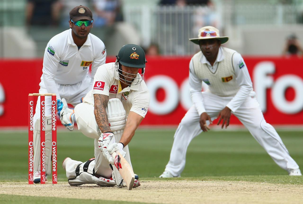 MELBOURNE, AUSTRALIA - DECEMBER 27:  Mitchell Johnson of Australia bats during day two of the Second Test match between Australia and Sri Lanka at Melbourne Cricket Ground on December 27, 2012 in Melbourne, Australia.  (Photo by Robert Cianflone/Getty Images)