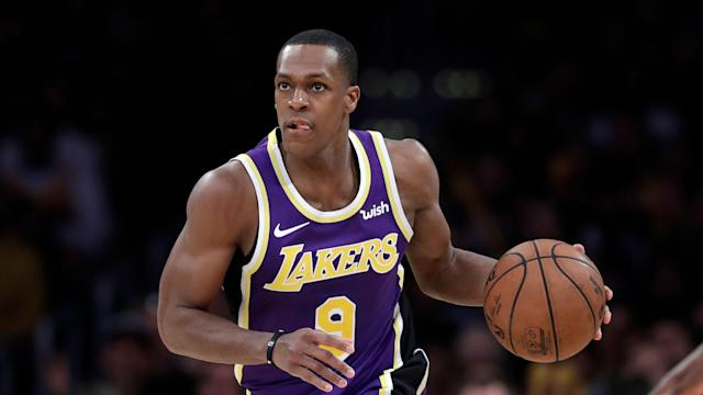 Rajon Rondo caused a stir by sitting with fans during Wednesday's game at Staples Center. (AP Photo/Marcio Jose Sanchez)