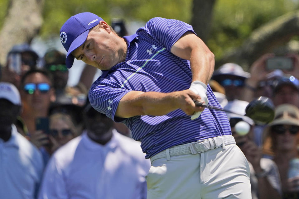 Jordan Spieth hits his tee shot on the seventh hole during the second round of the PGA Championship golf tournament on the Ocean Course Friday, May 21, 2021, in Kiawah Island, S.C. (AP Photo/Chris Carlson)