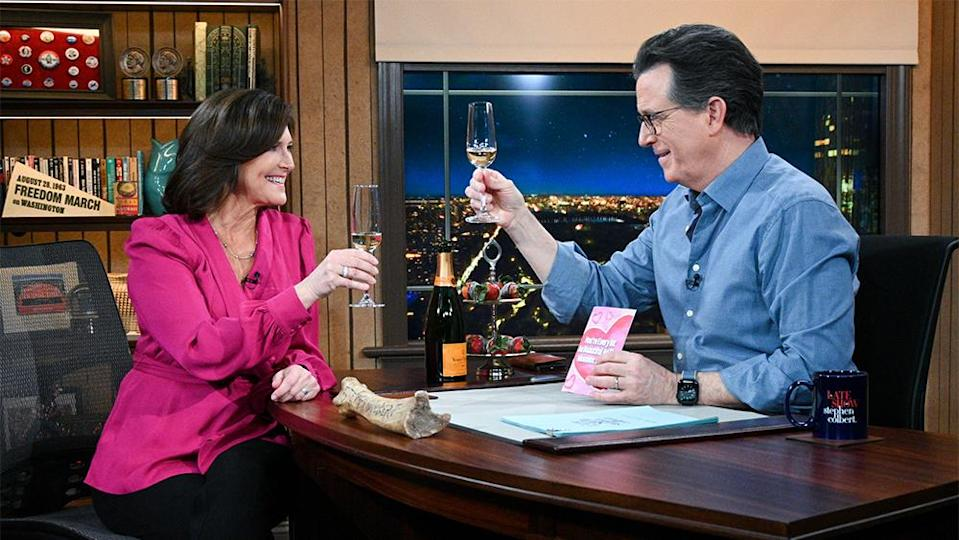 """Evie and Stephen Colbert on the Feb. 11, 2021, edition of """"The Late Show"""" - Credit: Scott Kowalchyk/CBS"""