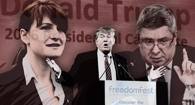 Maria Butina; candidate Donald Trump speaks at FreedomFest in 2015; and Alexander Torshin. (Photo illustration: Yahoo News; photos: ITAR-TASS/ZUMAPRESS.com, John Locher/AP, Alexander Shalgin\TASS via Getty Images)