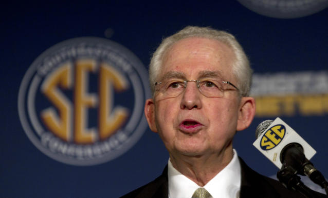 Mike Slive served as SEC commissioner for 13 years before retiring in 2015. (AP Photo/Dave Martin, File)