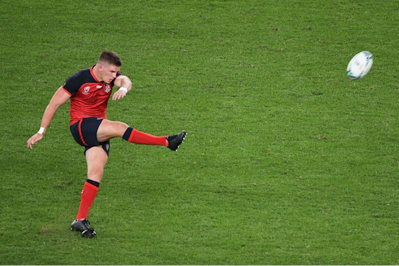 England's centre Owen Farrell kicks the ball during the Japan 2019 Rugby World Cup Pool C match between England and Argentina at the Tokyo Stadium in Tokyo on October 5, 2019. (Photo by William WEST / AFP) (Photo by WILLIAM WEST/AFP via Getty Images)