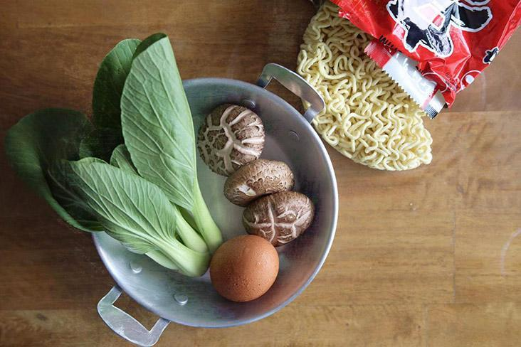 To make the meal more substantial, include a few extras such as shiitake mushrooms, 'xiao bai cai' and an egg.