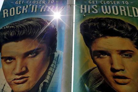 FILE PHOTO - Street banners line Elvis Presley boulevard near Graceland in Memphis, Tennessee, May 28, 2015. REUTERS/Mike Blake