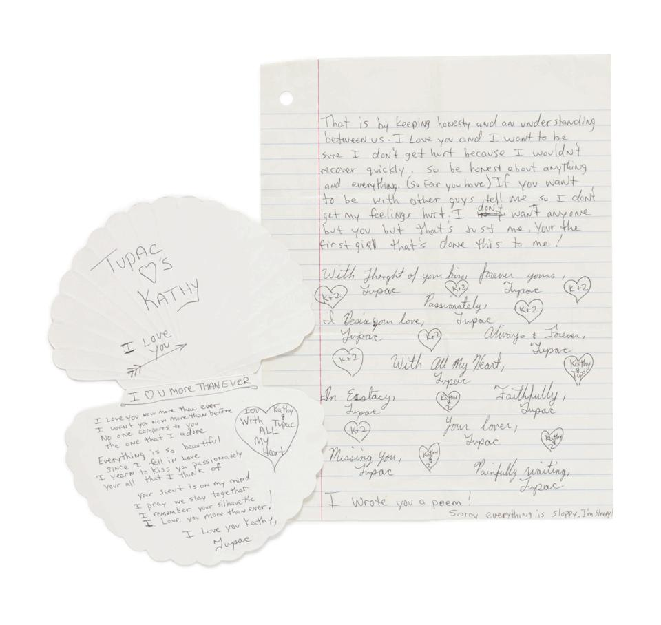 Letters written by rapper Tupac Shakur in high school are pictured in this handout photo supplied by Sotheby's, ahead of a September 15 auction dedicated entirely to hip-hop culture in New York. / Credit: Sotheby's